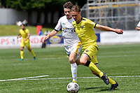 Ollie van Rijssel of the Wellington Phoenix competes for the ball with Campbell Strong of Eastern Suburbs during the ISPS Handa Men's Premiership - Wellington Phoenix v Eastern Suburbs at Fraser Park, Wellington on Saturday 28 November 2020.<br /> Copyright photo: Masanori Udagawa /  www.photosport.nz