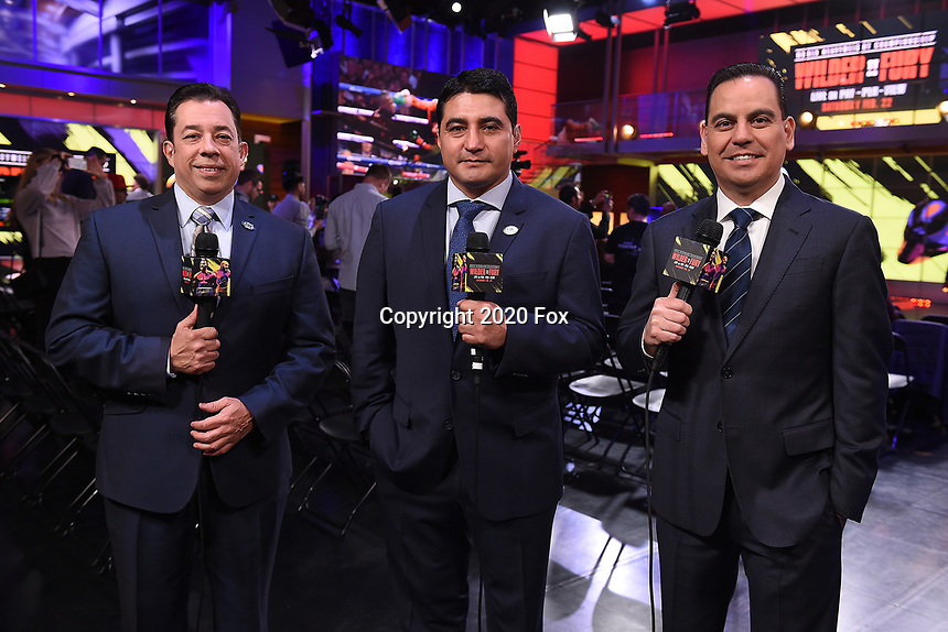 "LOS ANGELES - JANUARY 25: Jaime Motta, Erik Morales, and Rolando Nichols during a Los Angeles press conference on January 25, 2020 for the ""Wilder vs Fury II"" FOX SPORTS PPV & ESPN+ PPV which will take place on Feb. 22 from the MGM Grand Garden Arena in Las Vegas. (Photo by Frank Micelotta/Fox Sports/PictureGroup)"