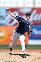 Myrtle Beach Pelicans pitcher Alex Gonzalez (23) delivers a pitch during a game against the Wilmington Blue Rocks on April 27, 2014 at Frawley Stadium in Wilmington, Delaware.  Myrtle Beach defeated Wilmington 5-2.  (Mike Janes/Four Seam Images)