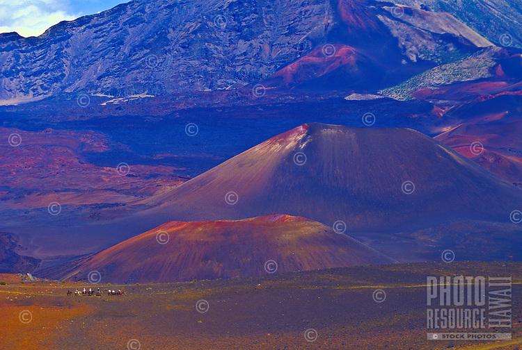 Horsebackriding through Haleakala's crater, Island of Maui
