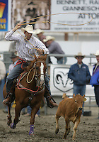 26 Aug 2010:  Jake Pratt scored a time of 9.7 in the slack Tie Down Roping competition at the Kitsap County Stampede Wrangle Million Dollar PRCA Silver Rodeo Tour Bremerton, Washington.