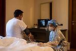 Emergenza Coronavirus Antico Borgo La Muratella una dottoressa presta cure ad un pazionte affetto da Covid19 che è in isolamento cronaca Cologno al Serio 20/11/2020 Coronavirus emergency Antico Borgo La Muratella a doctor gives treatment to a patient with Covid19 who is in isolation chronicle Cologno al Serio 20/11/2020