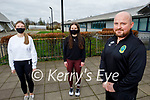 Mercy Mounthawk students taking part in their 1st year students steps challenge to cross the Atlantic. Front right: Kieran Costello (Teacher). Back l to r: TY students Niamh Quinn and Anna Kerdzaia.
