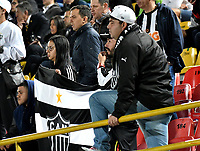 BOGOTÁ-COLOMBIA, 27-08-2019: Hinchas de Atlético Mineiro (BRA), animan a su equipo durante partido de vuelta de los cuartos de final entre La Equidad (COL) y Club Atlético Mineiro (BRA), por la Copa Conmebol Sudamericana 2019 en el estadio Nemesio Camacho El Campin, de la ciudad de Bogotá. / Fans of Atletico Mineiro (BRA), cheer for their team during a match between La Equidad (COL) and Club Atletico Mineiro (BRA), of the second leg of the quarter finals for the Conmebol Sudamericana Cup 2019 in the Nemesio Camacho El Campin stadium in Bogota city. Photo: VizzorImage / Luis Ramírez / Staff.