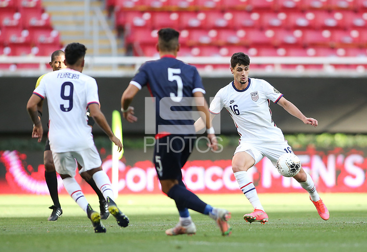 ZAPOPAN, MEXICO - MARCH 21: Johnny Cardoso #16 of the United States kicks the ball during a game between Dominican Republic and USMNT U-23 at Estadio Akron on March 21, 2021 in Zapopan, Mexico.
