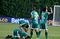 BOGOTA - COLOMBIA, 13-02-2021: Kevin Salazar de La Equidad, celebra con sus compañeros de equipo el gol anotado a Millonarios F. C., durante partido entre La Equidad y Millonarios F. C., de la fecha 6 por la Liga BetPlay DIMAYOR I 2021, jugado en el estadio Metropolitano de Techo en la ciudad de Bogota.  / Kevin Salazar of La Equidad celebrates with his teammates the scored goal to Millonarios F. C., during a match between La Equidad and Millonarios F. C., 6th date for BetPlay DIMAYOR I 2021 League at the Metropolitano de Techo stadium in Bogota city.  / Photo: VizzorImage / Daniel Garzon / Cont.