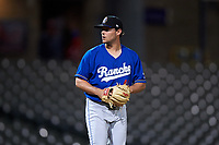 Rancho Cucamonga Quakes relief pitcher Logan Salow (49) prepares to deliver a pitch during a California League game against the Stockton Ports at Banner Island Ballpark on May 16, 2018 in Stockton, California. Rancho Cucamonga defeated Stockton 6-3. (Zachary Lucy/Four Seam Images)