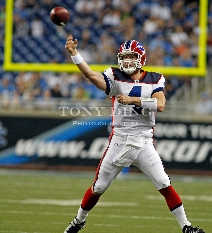 Buffalo Bills quarterback Brian Brohm (4) scrambles with the ball in the second quarter of a preseason NFL football game with the Detroit Lions, Thursday,  Sept. 2, 2010, in Detroit. (AP Photo/Tony Ding)