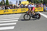 Andre Greipel (GER) Lotto-Belisol Team in action during the Prologue of the 99th edition of the Tour de France 2012, a 6.4km individual time trial starting in Parc d'Avroy, Liege, Belgium. 30th June 2012.<br /> (Photo by Eoin Clarke/NEWSFILE)