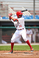 Auburn Doubledays third baseman Kelvin Gutierrez (36) at bat during a game against the Vermont Lake Monsters on July 13, 2016 at Falcon Park in Auburn, New York.  Auburn defeated Vermont 8-4.  (Mike Janes/Four Seam Images)