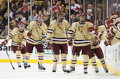 Pat Mullane (BC - 11), Brian Dumoulin (BC - 2), Kevin Hayes (BC - 12), Chris Kreider (BC - 19) - The Boston College Eagles defeated the Boston University Terriers 3-2 (OT) to win the 2012 Beanpot championship on Monday, February 13, 2012, at TD Garden in Boston, Massachusetts.