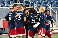 FOXBOROUGH, MA - OCTOBER 09: Ryan Spaulding #34 of New England Revolution celebrates his goal against Fort Lauderdale during a game between Fort Lauderdale CF and New England Revolution II at Gillette Stadium on October 09, 2020 in Foxborough, Massachusetts.