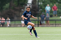 NEWTON, MA - AUGUST 29: Jackie Harnett #41 of University of Connecticut controls the ball during a game between University of Connecticut and Boston College at Newton Campus Soccer Field on August 29, 2021 in Newton, Massachusetts.