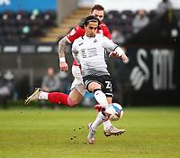 19th December 2020; Liberty Stadium, Swansea, Glamorgan, Wales; English Football League Championship Football, Swansea City versus Barnsley; Yan Dhanda of Swansea City shoots at goal