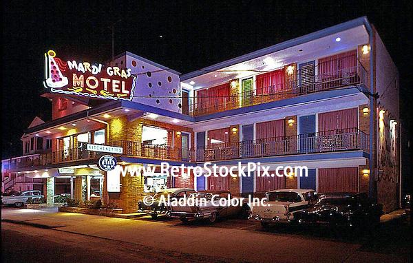 Neon Sign of the Mardi Gras motel in Atlantic City, NJ. 1959.