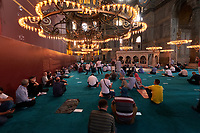 People pray in Hagia Sophia mosque, Istanbul, Turkey
