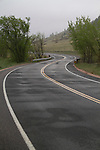 Rainy, mountain road in Boulder, Colorado,