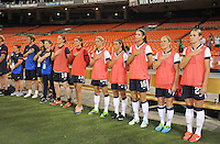USWNT bench during the signing of the National Anthem. The USWNT defeated Mexico 7-0 during an international friendly, at RFK Stadium, Tuesday September 3 , 2013.
