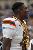 """Miami defensive back DJ Ivey wears the """"Turnover chain"""" after making an interception. The Miami Hurricanes football team defeated the Pitt Panthers 16-12 in a game at Heinz Field, Pittsburgh, Pennsylvania on October 26, 2019."""