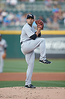 Scranton/Wilkes-Barre RailRiders starting pitcher Daniel Camarena (18) in action against the Charlotte Knights at BB&T BallPark on April 14, 2018 in Charlotte, North Carolina.  The RailRiders defeated the Knights 10-5.  (Brian Westerholt/Four Seam Images)