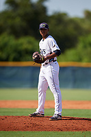 GCL Rays starting pitcher Taj Bradley (27) gets ready to deliver a pitch during a game against the GCL Twins on August 9, 2018 at Charlotte Sports Park in Port Charlotte, Florida.  GCL Twins defeated GCL Rays 5-2.  (Mike Janes/Four Seam Images)