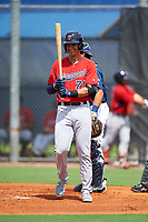 GCL Twins first baseman Benjamin Rodriguez (71) at bat during the first game of a doubleheader against the GCL Rays on July 18, 2017 at Charlotte Sports Park in Port Charlotte, Florida.  GCL Twins defeated the GCL Rays 11-5 in a continuation of a game that was suspended on July 17th at CenturyLink Sports Complex in Fort Myers, Florida due to inclement weather.  (Mike Janes/Four Seam Images)