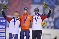 SPEED SKATING: SALT LAKE CITY: 20-11-2015, Utah Olympic Oval, ISU World Cup, Podium 1500m Men, Joey Mantia (USA), winner Kjeld Nuis (NED), Shani Davis (USA), ©foto Martin de Jong