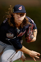 Cleveland Indians pitcher Mike Clevinger (52) warms up in the bullpen in the fourth inning during Game 5 of the Major League Baseball World Series against the Chicago Cubs on October 30, 2016 at Wrigley Field in Chicago, Illinois.  (Mike Janes/Four Seam Images)