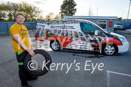 Tim Allman ready to recycle a tyre at Relihan's Tyre recycling service
