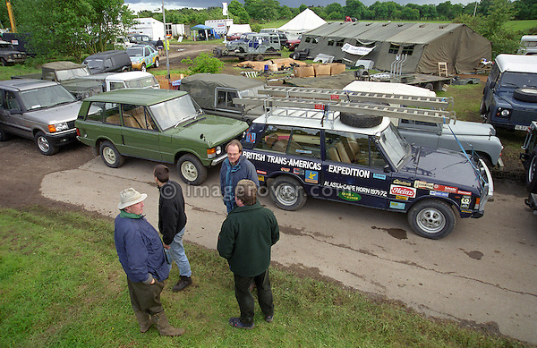 Show cars lining up at a Land Rover enthusiasts show, UK 1999. --- No releases available. Automotive trademarks are the property of the trademark holder, authorization may be needed for some uses.