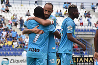 MONTERIA - COLOMBIA, 17-04-2019: Pablo Rojas (#7) de Jaguares celebra después de anotar el primer gol, de penal, de su equipo durante el partido por la fecha 16 de la Liga Águila I 2019 entre Jaguares de Córdoba F.C. y Envigado F.C. jugado en el estadio Jaraguay de la ciudad de Montería. / Pablo Rojas (#7) of Jaguares de Cordoba F.C. celebrates after scoring the first goal, by penal, of his team during match for the date 16 as part Aguila League I 2019 between Jaguares de Cordoba F.C. and Envigado F.C. played at Jaraguay stadium in Monteria city city. Photo: VizzorImage / Andres Felipe Lopez / Cont
