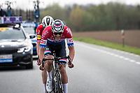 Mathieu Van der Poel (NED/Alpecin-Fenix) on his way to Oudenaarde with Kasper Asgreen (DEN/Deceuninck - Quick Step) tucking behind him<br /> <br /> 105th Ronde van Vlaanderen 2021 (MEN1.UWT)<br /> <br /> 1 day race from Antwerp to Oudenaarde (BEL/264km) <br /> <br /> ©kramon