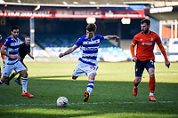 9th January 2021; Kenilworth Road, Luton, Bedfordshire, England; English FA Cup Football, Luton Town versus Reading; Oliver Pendlebury of Reading with a strike on goal as Tunnicliffe of Luton closes in