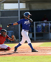 Carlos Jimenez participates in an international showcase hosted by JDB Baseball at the Quality Baseball Academy on February 20, 2018 in Santo Domingo, Dominican Republic (Bill Mitchell)