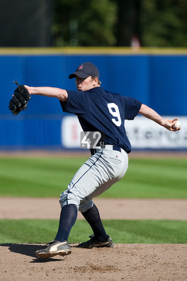 14 September 2009: Aeden McQueary-Ennis of Great Britain pitches against South Korea during the 2009 Baseball World Cup Group F second round match game won 15-5 by South Korea over Great Britain, in the Dutch city of Amsterdan, Netherlands.