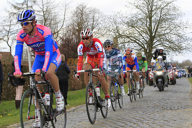 The breakaway group of riders including Massimo Graziato (ITA) Lampre-ISD, Vladimir Isaichev (RUS) Katusha, Gert Dockx (BEL) Lotto-Belisol, Maarten Tjallingii (NED) Rabobank and Baptiste Planckaert (BEL) Landbouwkrediet-Euphony on the 2nd cobbled section at Doorn during the 96th edition of The Tour of Flanders 2012, running 256.9km from Bruges to Oudenaarde, Belgium. 1st April 2012. <br /> (Photo by Eoin Clarke/NEWSFILE).