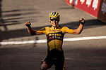 Wout Van Aert (BEL) Team Jumbo-Visma wins the 2020 Strade Bianche Elite Men running 184km from Fortezza Medicea Siena to Piazza del Campo Siena, Italy. 1st August 2020.<br /> Picture: LaPresse/Marco Alpozzi | Cyclefile<br /> <br /> All photos usage must carry mandatory copyright credit (© Cyclefile | LaPresse/Marco Alpozzi)