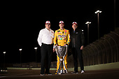 #18: Kyle Busch, Joe Gibbs Racing, Toyota Camry M&M's, Ed Laukes, Group Vice President - Toyota Division Marketing, and J. David Wilson, President and General Manager of TRD, U.S.A. (Toyota Racing Development)