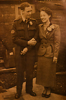 BNPS.co.uk (01202) 558833<br /> Pic: ZacharyCulpin/BNPS<br /> <br /> Ken on his wedding day to wife Flora<br /> <br /> An RAF veteran who flew the last Lancaster bomber home on the final sortie of the war has finally received his Bomber Command clasp 75 years later.<br /> <br /> Former Squadron Leader Ken Symonds, 97, limped his aircraft back to Britain following the last big raid of Bomber Command's Europe offensive.<br /> <br /> The sortie took place over Berchestgaden, the town in the Bavarian Alps where Adolf Hitler had his Eagles Nest retreat, on April 25, 1945 - five day's before the evil dictator's suicide.<br /> <br /> The Lancaster was struck by anti-aircraft fire which resulted in one of its four engines to be knocked out.
