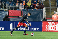 FOXBOROUGH, MA - AUGUST 4: Gustavo Bou #7 of New England Revolution takes a shot during a game between Nashville SC and New England Revolution at Gillette Stadium on August 4, 2021 in Foxborough, Massachusetts.