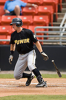 Robbie Grossman #36 of the West Virginia Power follows through on his swing versus the Hickory Crawdads at L.P. Frans Stadium June 21, 2009 in Hickory, North Carolina. (Photo by Brian Westerholt / Four Seam Images)