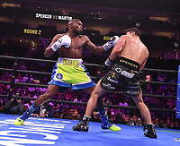 NEWARK, NJ - JULY 31: Joey Spencer (black trunks) vs James Martin (green/blue trunks) on the Fox Sports PBC Fight Night at Prudential Center on July 31, 2021 in Newark, New Jersey. (Photo by Frank Micelotta/Fox Sports/PictureGroup)