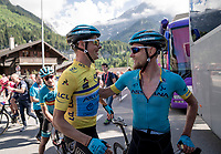Jakob Fuglsang (DEN/Astana) is cong ratulated by his teammates after winning the Dauphiné for a 2nd time in his career<br /> <br /> Stage 8: Cluses (FRA) to Champéry (SUI)(113km)<br /> 71st Critérium du Dauphiné 2019 (2.UWT)<br /> <br /> ©kramon