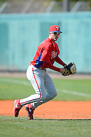 Philadelphia Phillies infielder Brock Stassi (28) during practice before a minor league Spring Training game against the Atlanta Braves at Al Lang Field on March 14, 2013 in St. Petersburg, Florida.  (Mike Janes/Four Seam Images)