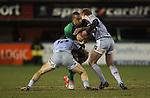 No way through for Connacht wing Fetu'u Vainikolo as Blues pair Gavin Evans and Owen Williams close in..Celtic League.Cardiff Blues v Connacht.22.02.13.©Steve Pope-SPORTINGWALES