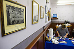 Lancaster City 0 FC Halifax Town 3, 15/10/2011, Giant Axe, FA Cup Third Qualifying Round. A member of staff preparing refreshments in the boardroom at Lancaster City's Giant Axe ground prior to the club's FA Cup third qualifying round match against FC Halifax Town. The visitors, who play two leagues above their hosts in the English football pyramid, won the ties by three goals to nil, watched by a crowd of 646 spectators. Lancaster City were celebrating their centenary in 2011, although there was a dispute over the exact founding date over the club known as Dolly Blue. Photo by Colin McPherson.