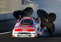 Nov 8, 2013; Pomona, CA, USA; NHRA funny car driver Bob Tasca III during qualifying for the Auto Club Finals at Auto Club Raceway at Pomona. Mandatory Credit: Mark J. Rebilas-