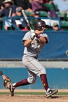Beau Maggi #38 of the Arizona State Sun Devils bats against the Long Beach State Dirtbags at Blair Field on March 11, 2012 in Long Beach,California. Arizona State defeated Long Beach State 6-1.(Larry Goren/Four Seam Images)