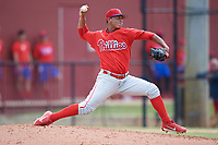 Philadelphia Phillies pitcher Luis Ramirez (72) delivers a pitch during an Instructional League game against the Toronto Blue Jays on September 30, 2017 at the Carpenter Complex in Clearwater, Florida.  (Mike Janes/Four Seam Images)