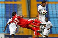 Sebastian Lletget (right) battles against Panama player. USA Men's Under 20 defeated Panama 2-0 at Estadio Mateo Flores in Guatemala City, Guatemala on April 2nd, 2011.
